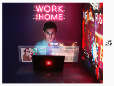 Work from home Photoshop  Edited vector typography logo banners flyer poster wallpaper print work from home iqbal imran corona virus color grading editing adobe photoshop photography edited adobe photoshop