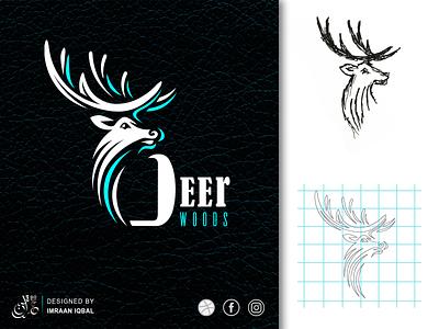 Vector Deer logo sketch business card design business cards logo design brand identity branding minimal logo vector illustration