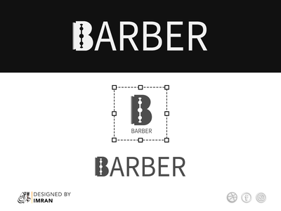 Barber logo illustration vector typography business card design logo minimal brand identity illustration branding logo design blade barber logo