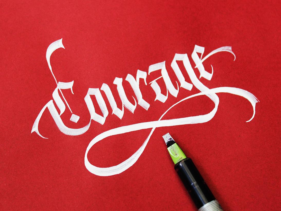 Callivember_courage challenge design calligraphy