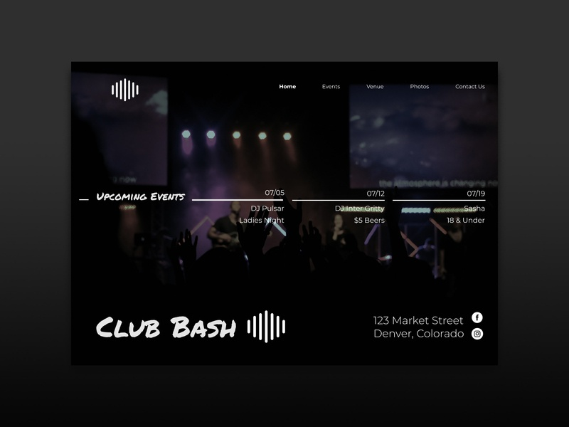Bash Nightclub graphic design web design website design website uidesign ui