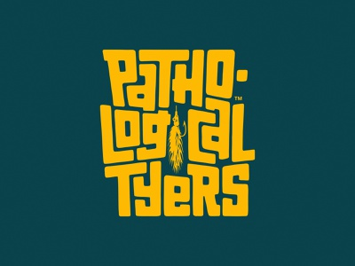 Pathological Tyers vertical version type lover typography logo logo fly fishing logo fly fishing fishing logo hand drawn type hand lettered lettering typography hand