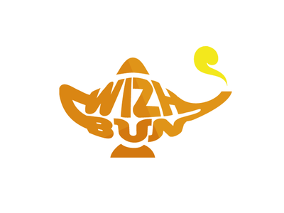 Wizh Bun Logo logo logomark genie lamp orange yellow flat