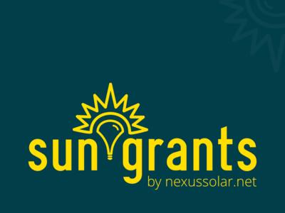 Sun Grants Community Solar Program sun lightbulb solar blue yellow logo