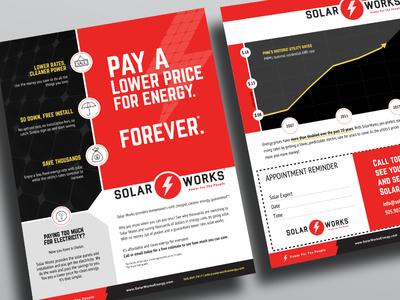 Solar Works Energy us letter color blocking solar panels solar energy flyer red