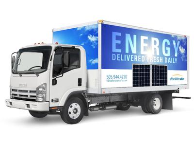 Solar energy truck wrap sky solar panels vehicle wrap solar energy