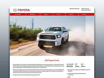 Vehicle Model Landing Pages web front end web design ux ui