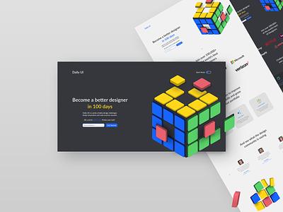 DailyUi  - A' Design Awards 2020 Nominee dark ui minimal 100days daily 100 challenge dailyui webdesign rubiks cube rubik 3d ux ui design ui website design awards