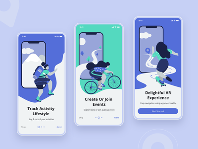 Onboarding Illustrations augmented reality hiking skateboarding cycling uidesign tracking app dribbble minimal activity animation illustration onboarding screen onboarding