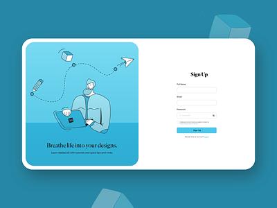 Sign Up • Online Teaching Platform illustration minimal flat design design dribbble uidesign ui  ux ui adobe adobe xd adobexd