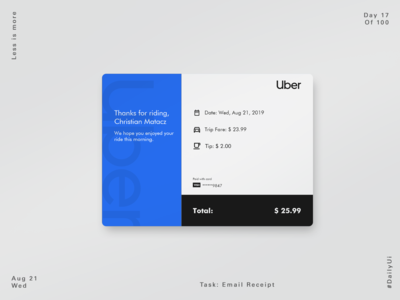Uber Concept Email Receipt  #DailyUi 017