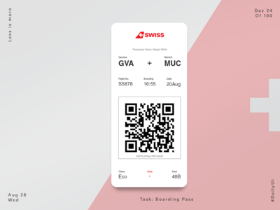Swiss Airline Concept Boarding Pass