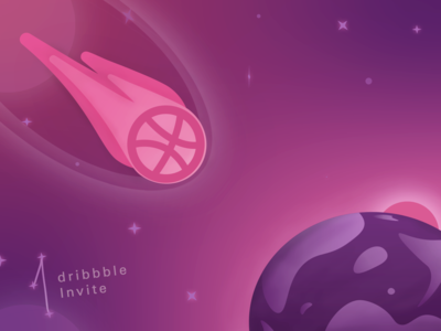 Dribbble Invite - Asteroid Concept