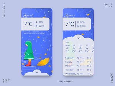 037 Weather App weather weather app uiux illustration web app design dailyui app product design ux ui