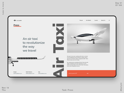 051 LILIUM Press Page ux ui design flat dailyui interface web website kit taxi jet airplane press