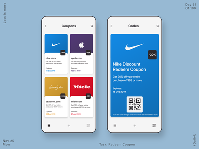 061 Redeem Coupon miele apple nike app design dailyui ux minimal ui discounts discount voucher discount code redeem coupon coupon code coupon