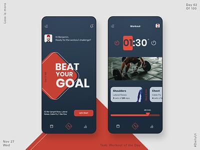 062 Workout App ipone ios app app design dailyui product design ui  ux athlete workout app gym app workout