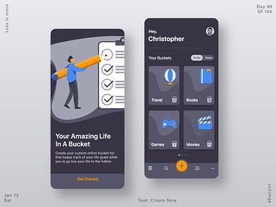 090 Bucket List App create new 2020 illustraion ux ui product design app app design dailylogochallenge dailyui bucketlist bucket
