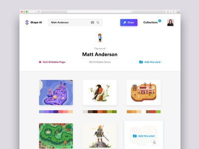 Shape AI ui transfer style prediction palettes dribbble draw color theme collections ai