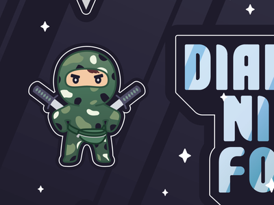Ninja character stickers illustration camouflage katanas ninja