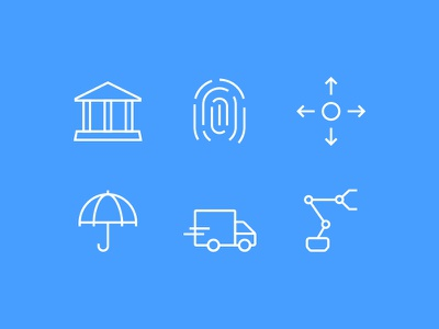 Industries banking insurance robot industries minimalist icons