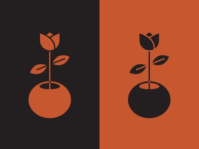 Flower retro illustration icon plant pot flower