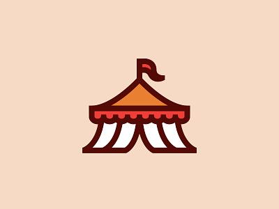 Chapiteau freak show icon logo flag tent circus