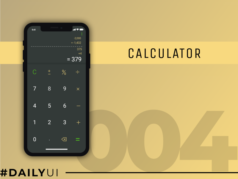 Daily UI #004 : Calculator daily ui 004 daily ui mobile ui calculator ui calculator app design uiux design ui design design ux ui adobe xd adobe photoshop