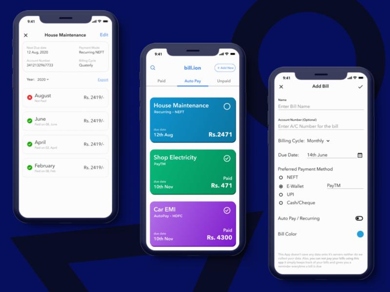 Bill Organiser money app money organiser bills bill design minimal