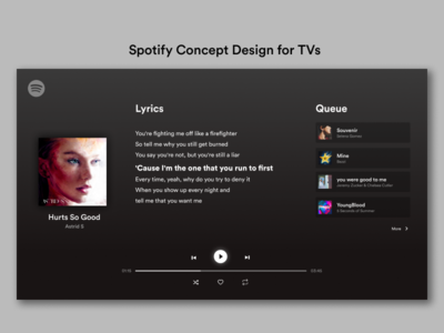 Spotify Concept Design for TVs inspired minimal concept design music player lyrics spotify