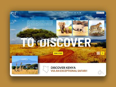 Safari website concept kenya africa safaris elephant rhinoceros lion leopard buffalo landing page website webdesign web design interface ui ux graphic design typography application presentation creationy
