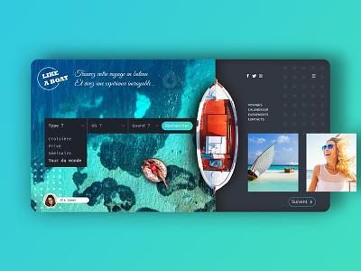 Boat trip website concept reservation web design creationy modern interface webdesign website concept blue trip rental travel boat