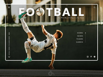 Football website concept presentation homepage minimal clean application ui ux interface typography landing page sport soccer football concept webdesign design site web website creationy