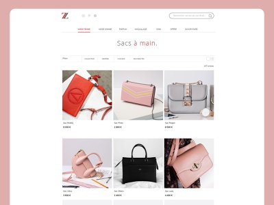 Mode ecommerce website concept clean minimal ui ux homepage presentation handbag pink ecommerce concept webdesign web site website creationy