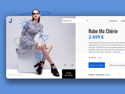 Product page website concept interface presentation woman dress minimal clean blue white product site website design web webdesign homepage concept creationy