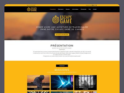 Escape Game website concept presentation interface homepage landingpage template black yellow webdesign design website concept escape game creationy