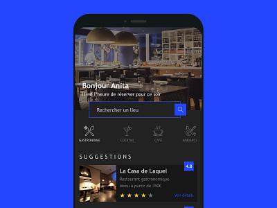 Reservation mobil application concept ui ux blue dark design interface reservation restaurant concept creationy app mobile app application mobile