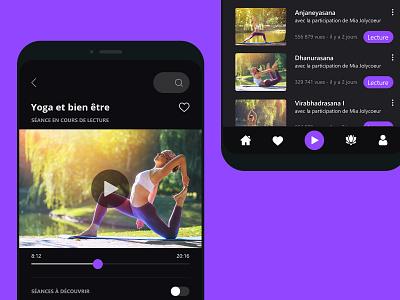 Yoga mobile application concept concept ui ux design interface sport yoga dark purple creationy mobile application app application mobile