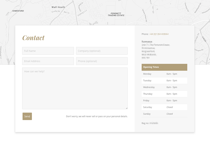 Contact Page user experience opening hours material design web design ux form contact