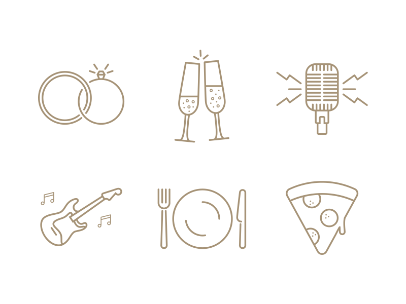 Wedding Icons pizza food music microphone rings champagne wedding icons icon