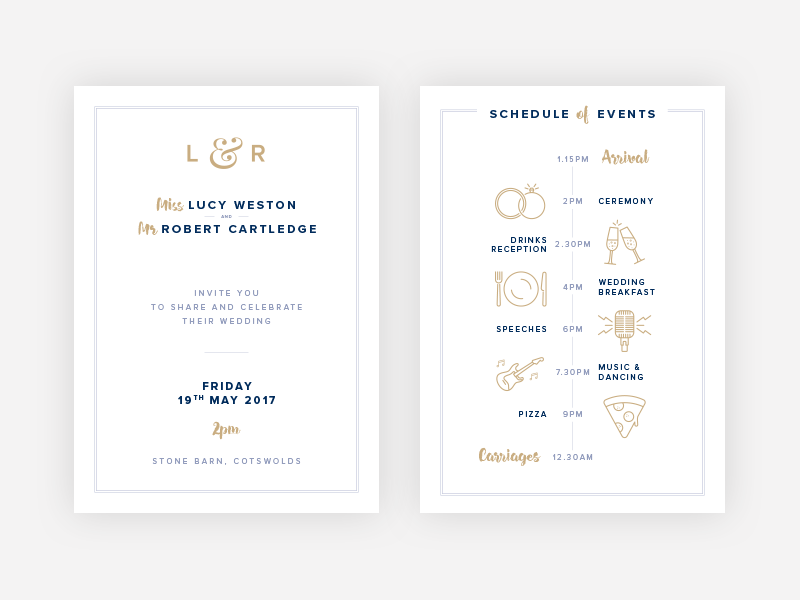 Wedding Invitation pizza microphone rings champagne typography icons invitation wedding