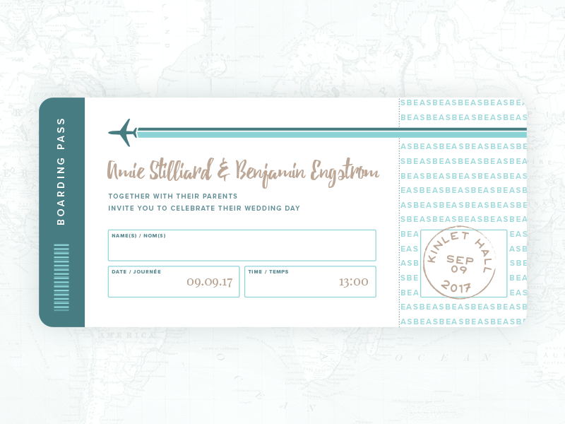 Boarding Pass Invite boarding pass plane typography travel invitation wedding