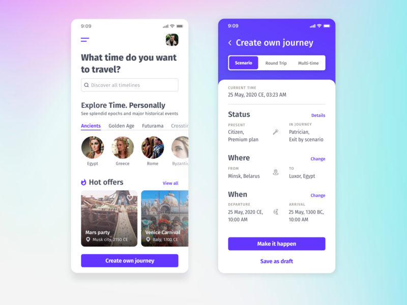 Time Travel App timejourney timemachine time booking travel ios clean ui mobile ui