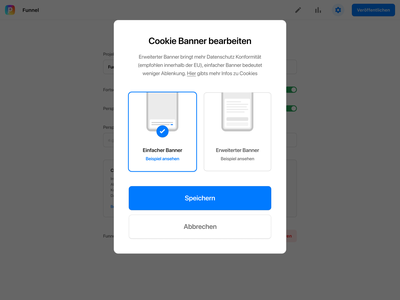Cookie banner settings funnels settings banner cookie