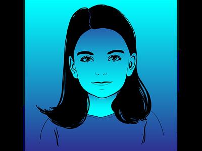 Девочка градиент синий девочка портрет вектор векторная графика иллюстрация