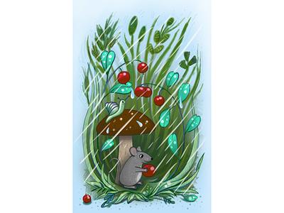 Иллюстрация к сказке лес улитка гриб мышонок дождь сказка иллюстрация