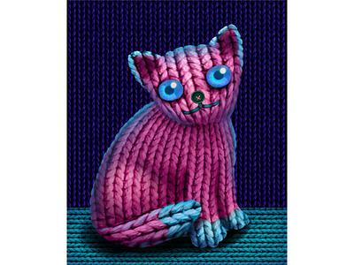 Вязанный кот пуговица вязание кот иллюстрация