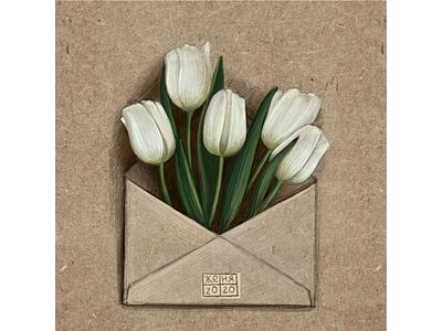 Подарок иллюстрация весна подарок конверт почта цветы тюльпаны