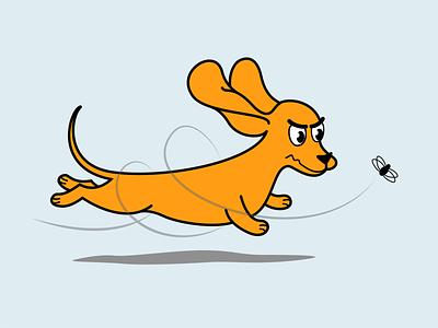 Погоня illustration дизайн плоский векторная графика вектор иллюстрация погоня гонка муха собака