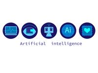 Сет иконок искусственный интеллект иконки logo плоский дизайн векторная графика вектор